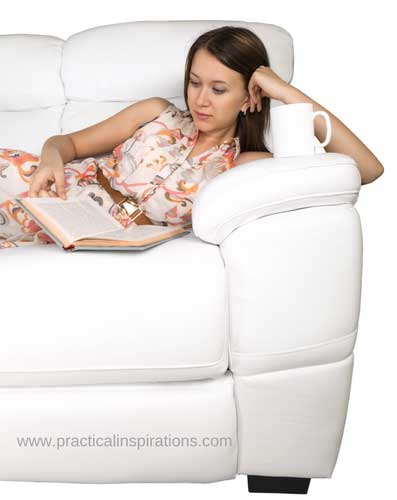 woman relaxing with book and coffee